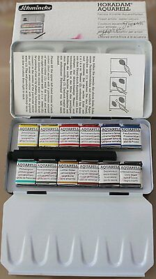 Schmincke Artists Watercolour Metal Box set of 12 Half Pans include travel brush