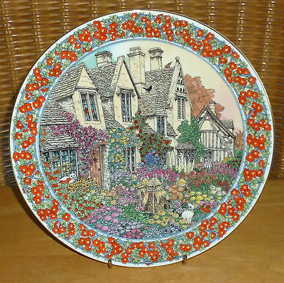 Royal Worcester Sue Scullard Cottage Gardens Series Plate Gloucester / October