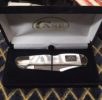 Pamp Platinum Bar On Custom Case Lockback Knife Genuine Mother Of Pearl Handle
