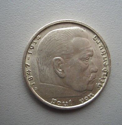 Germany,1938B  2 Reichmark,,Extremely Fine Condition, 25 mm Diameter, 8 Grams