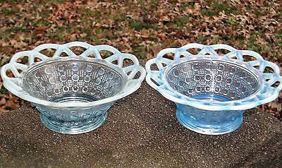 Imperial Glass Katy Blue Opalescent Laceed Edge Cane Pattern Bowls. Lot of 2