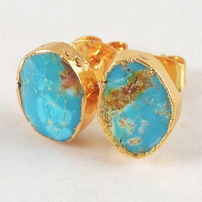Natural Genuine Turquoise Stud Earrings Gold Plated H80956