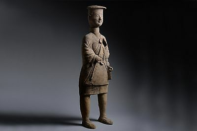 Huge Ancient Chinese Eastern Han Dynasty Pottery Farmer Figure - 25 AD
