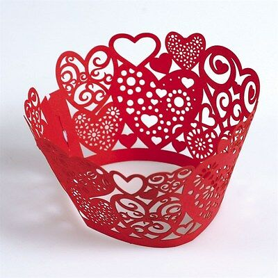 Red Lace Heart Cupcake Wraps Pk Of 12 Cake Decorating