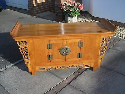 Good Quality Carved Chinese Winged Altar Cabinet Made Of Elm