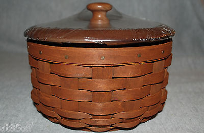 Longaberger Round Coaster Basket, Lid, Protector - Rich Brown BRAND NEW