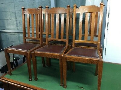 Set of 6 Possible Arts and Crafts Oak dining chairs £295.00