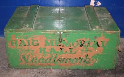 ~ Superb ~Antique ~Vintage ~Wooden Trunk ~ Wood Box ~Green~ Pine ~Rope Handles ~
