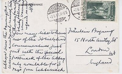 Luxembourg-1938 35c green on Hotel Bel-Air, Echternach postcard cover to UK