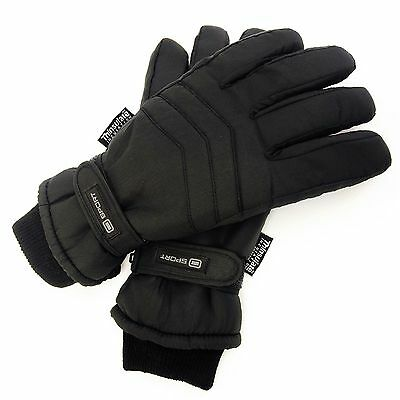 Mens Padded Waterproof Ski Gloves 3M Thermal Thinsulate Lined & Soft Cuff
