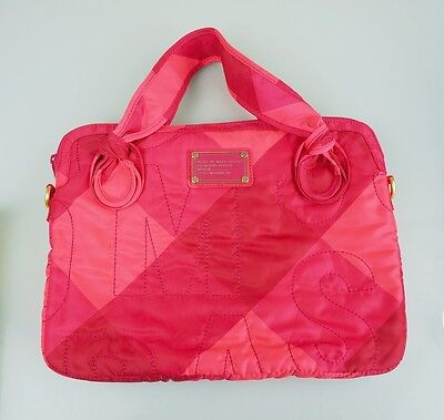 Womens Marc By Marc Jacobs Pink Nylon Quilted Laptop Travel Case Bag