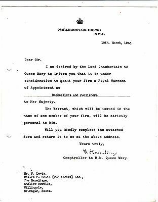 Queen Mary Of Teck Royal Warrant Letter