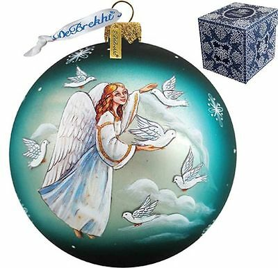 "G. DeBREKHT ""ANGEL DOVES BALL"" HAND PAINTED GLASS ORNAMENT  NEW *  FREE SHIPPING"