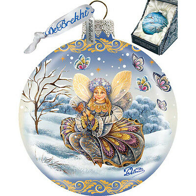 "G DeBREKHT ""FAIRY GIRL BALL"" HAND PAINTED  GLASS ORNAMENT  NEW  * FREE SHIPPING"