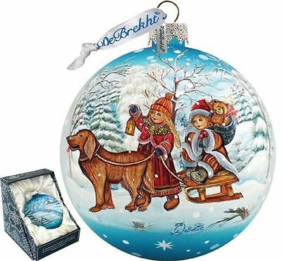 """G DeBREKHT """"WINTER KIDS BALL"""" HAND PAINTED  GLASS ORNAMENT  NEW  * FREE SHIPPING"""