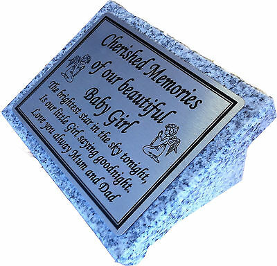 Personalised Grey Granite not Marble Baby Boy/Girl Memorial Grave Plaque Stone