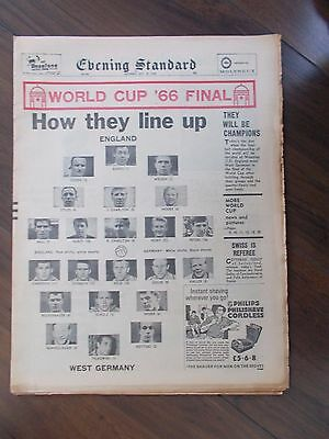 VINTAGE NEWSPAPER EVENING STANDARD JULY 30th 1966 WORLD CUP FINAL PREVIEW