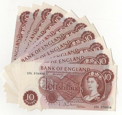 Hollom Ten Shillings 10/- (1963-1966) About Uncirculated Condition