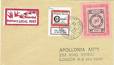 1971 env Local/Cinderella Postal Strike Belmont Sutton Osborne Recorded 2/- + 3d