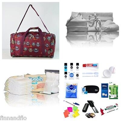 Pre-packed Luxury hospital/maternity bag, burgundy owl FREE NEXT DAY DELIVERY!