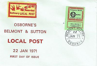 1971 env Local/Cinderella Postal Strike Belmont Sutton Osborne Recorded 2/- FDC