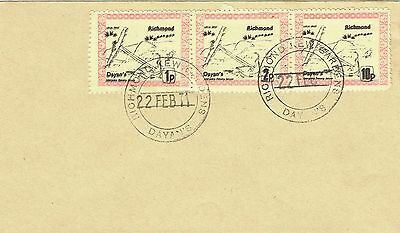 1971 env Local/Cinderella Postal Strike Dayans Richmond 1p, 2p, 10p stamps