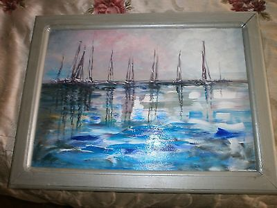 Original Acrylic Oil Painting On Board, Yachts, Vibrant And Colourful, Signed