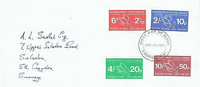 1971 env Local/Cinderella Postal Strike FDC Roland Press Service 6d 2/- 4/- 10/-