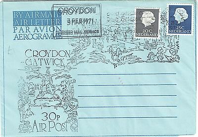 1971 env Local/Cinderella Postal Strike Croydon Air Letter 30p Air post Netherla