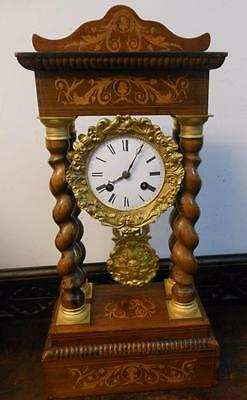 victorian rosewood  inlaid  striking french  portico mantel clock