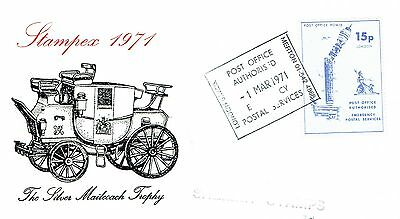 1971 env Local/Cinderella Postal Strike Merton PO Power 15p stamp PO Authorised
