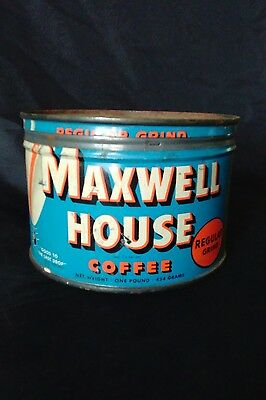 Vintage Maxwell House Coffee Tin with Lid - 1 Pound Capacity - Mid Century