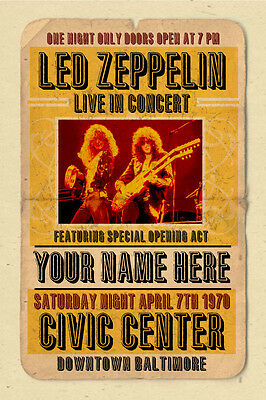 your name on a Led Zeppelin concert poster! - personalized gift!!!