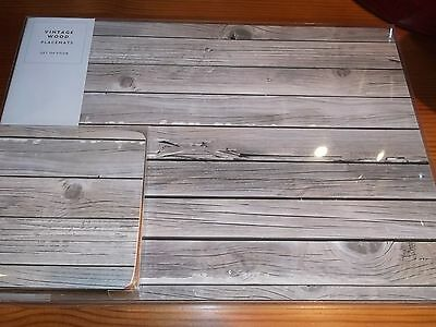set of 4 place mats & 4 coasters grey old wood print brand new