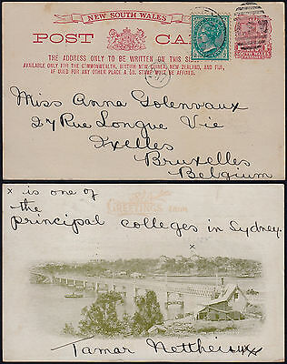 Australia New South Wales 1889 - Illustrated stationery to Brussels Belgium