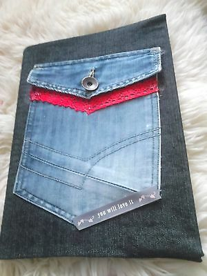 A/4 notebook with denim sleeve and decorated, unique
