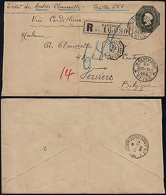 Chile 1898 - Registered stationery Santiago to Verviers Belgium