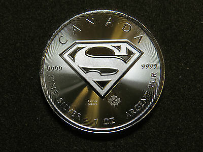 "2016 $5 1 oz FINE SILVER COIN SUPERMAN ""S"" SHIELD CANADA MAPLE LEAF RCM BU"