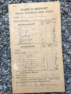 Antique 1923 Pupil's Report Card Omaha Technical High School Omaha Nebraska