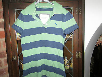 Womens Abercrombie & Fitch Size S Polo Neck Short Sleeve Green & Blue T Shirt