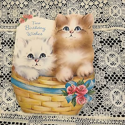 Vintage Greeting Card Birthday Norcross Cute Cats In Basket