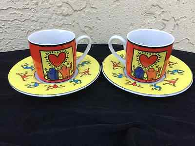 Keith Haring Art Espresso Demitasse Cup & Saucer Heart Over 2 Guys By Konitz