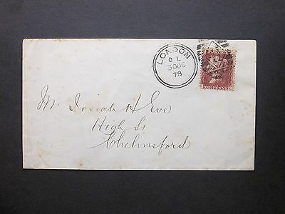 GB 1878 QV 1d red plate 100 Envelope 41 LONDON Duplex postmark to Chelmsford
