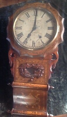 19 th C AMERICAN DROP DIAL INLAID MARQUETRY WALL CLOCK