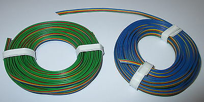 (1m = ) Four of a kind wire 2x5m blue yellow red-green NEW