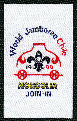 Boy Scout Badge 19 WORLD JAMBOREE CHILE 1999 MONGOLIA Join-In
