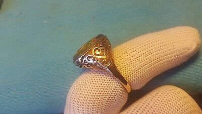 ROMAN OLD MOSAIC GLASS WONDERFUL SOLID GOLD RING 5.46 grams