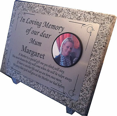 Personalised Large Grey Granite Memorial Plaque Headstone with Colour Photo