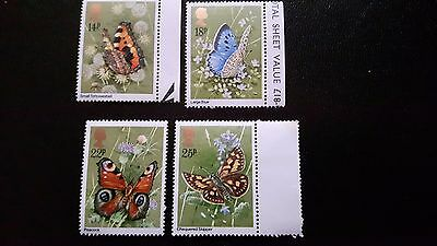 British Stamps 1981 Butterflies 4 Stamps MNH.
