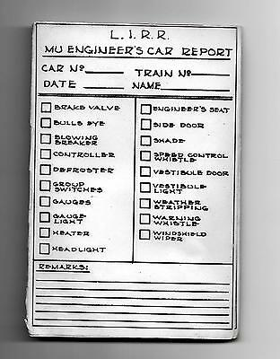 Pad of 12 Vintage 1960s Long Island Railroad MU Engineer's Car Report Forms